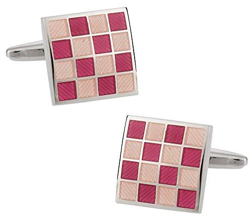 (Cuff-Daddy Pink Checkerboard Enamel Cufflinks with Presentation Box)