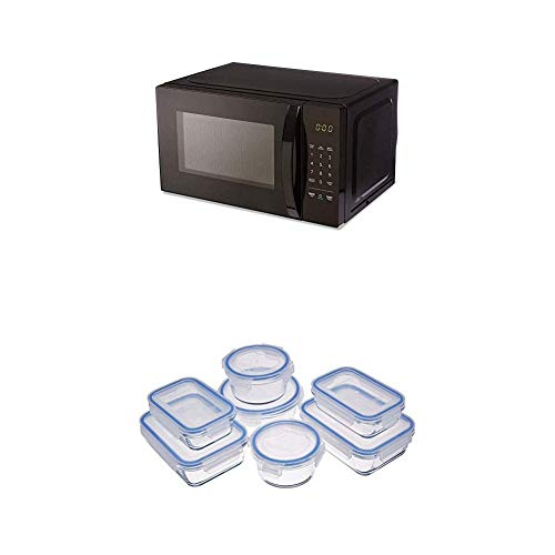 AmazonBasics Microwave + Glass Locking Food Storage Containers (14-Piece Set)