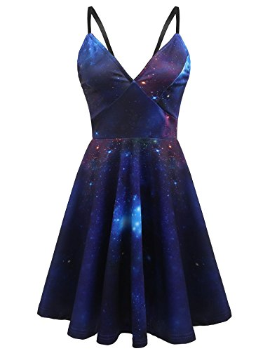 Elesol Women 3D Galaxy Halloweeen Dress Adventure Time Skater Dress,M (Horror Dress)