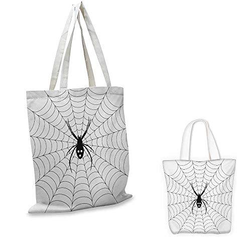 Spider Web,Travel bag Poisonous Bug Venom Thread Circular Cobweb Arachnid Cartoon Halloween Icon Heavy Duty Shopping Totes Black White 16.5