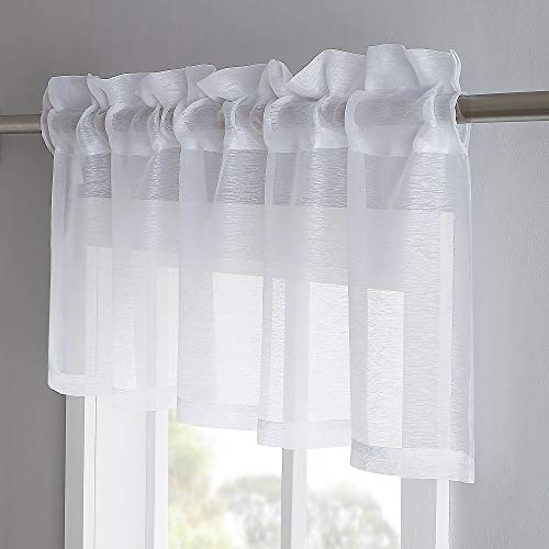 Warm Home Designs 1 Premium Quality 54 x 18 Inch Sheer White Faux-Linen Rod Pocket Valance Window Accessory. Fits up to 1.5 Inch Rod. J White Valance