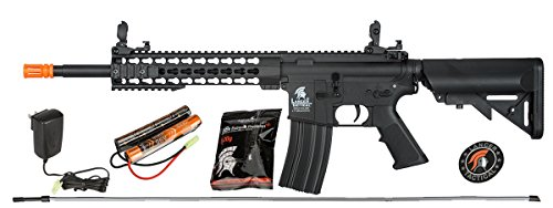 UKARMS Lancer Tactical M4 KEYMOD AEG Field Metal Gears Airsoft Gun Rifle w/ 9.6v Battery & Charger (Black High Velocity) ()