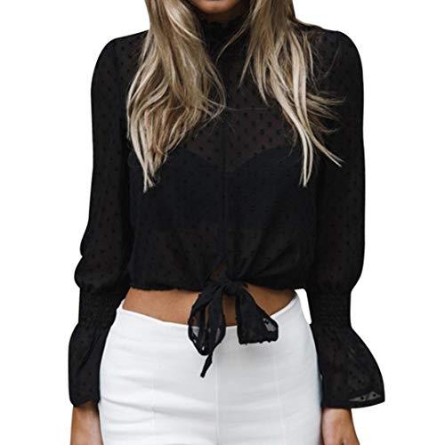 Nou Chemise Innerternet Soie Shirt de Tops Avant en Noir Manches Longues Courte Mousseline Blouse vases T BvprBwqx