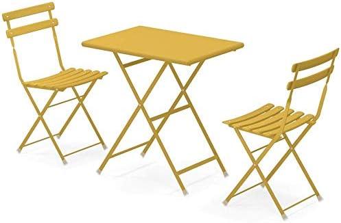 Set Arc en Ciel Emu: 2 sillas plegables Art. 314 + 1 mesa plegable cm. 50x70 Art. 334 código de color Amarillo Curry cód. 62: Amazon.es: Jardín