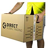 5 Strong Extra Large Cardboard Storage Packing Moving House Boxes Double Walled with Carry Handles and Room List 60cm x 45cm x 40cm 24'' x 18'' x 16'' 108 Litres