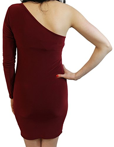 Dress M Chocolate Slim Sexy New Womens S Pickle Wine Neck Chocker One Out Mini Going Shoulder Sy67W