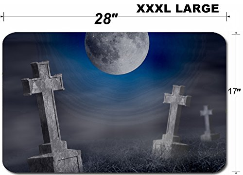 Liili Large Table Mat Non-Slip Natural Rubber Desk Pads IMAGE ID: 23132877 Mystery old graveyard with a group of cross tombstones at midnight Halloween collage]()