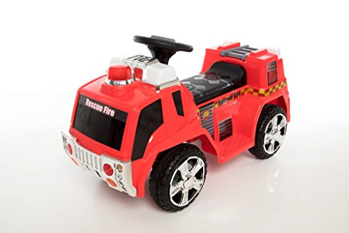 (Beyond Infinity 6V Ride On Wonderlanes Rescue Fire Truck, Red, 34.65 x 15.35 x 20.5)