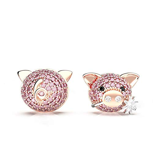 SKA Jewelry Pink Pig Stud Earrings for Girls Women Pink Cubic Zirconia Sweet Pinky Piggy Earings Ear Stud Two-Tone Gold Plated
