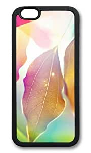 MOKSHOP Adorable Colorful Leaves Soft Case Protective Shell Cell Phone Cover For Apple Iphone 6 (4.7 Inch) - TPU Black