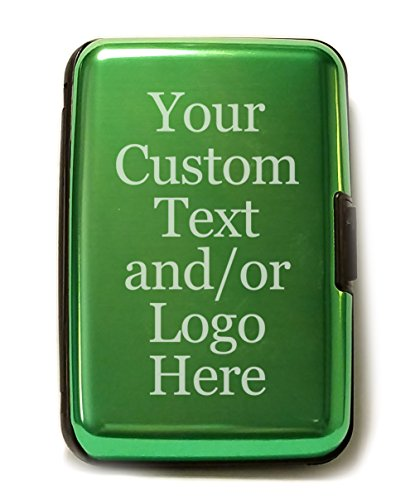 Customized 3D Laser Engraved Personalized Aluminum Hard Credit Card Custom Wallet (Green)