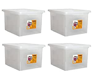 Lorell LLR68925 Letter/Legal Plastic File Box (4 PACK SAVINGS)