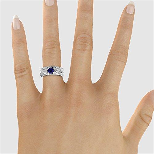 Or blanc 18carats 0,50CT G-H/VS sertie de diamants ronds Cut Saphir et mariée Bague de fiançailles et ensemble de Agdr-1147