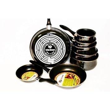 Vitrinor - Juego de 5 cacerolas + 3 sartenes negra email inducción a03-lot 8 piece-noir: Amazon.es: Hogar