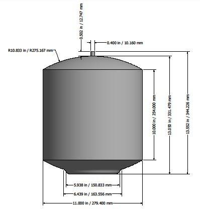 Watts Premier 0950045 ZeroWaste - Tank dimensions