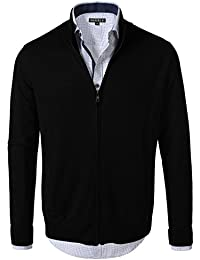 7Encounter Men's Vintage Zipper Front Cardigan Sweater