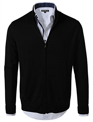 7 Encounter 7Encounter Men's Vintage Zip-Front Cardigan Black M - Vintage Zip