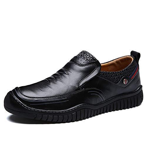 Noir 44 EU EGS-chaussures Hommes Mocassins De Bateau Slip on Style Ox en Cuir De Mode Couture Couture Anti-Collision Bout Pur Couleurs Mocassins Chaussures de Cricket (Couleur   Noir, Taille   44 EU)