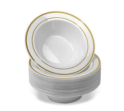 50 Disposable White Gold Trim Plastic Dessert Bowls | SMALL 6 oz. Premium Heavy Duty Disposable Dinnerware with Real China Design | Safe & Reusable and Great for Parties (50-Pack) by Bloomingoods ()