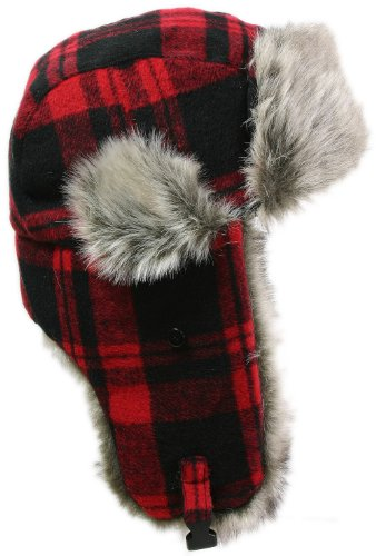 LL Women's Fashion Trooper Trapper Ski Hat - Red Checked - Medium