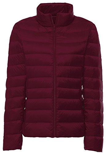 Wantdo Women's Stand Collar Packable Ultra Light Weight Short Down Jacket, Wine (Bubble Puff)