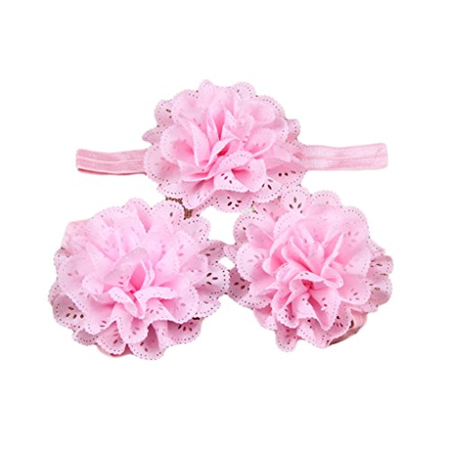 Baby Girls Barefoot Sandals with Satin Eyelet Cut Fabric Flower Headband Set JB42 (7-Pink)