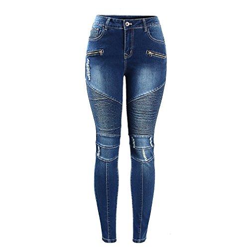 Motocicleta Motociclista Zip Mid cintura alta Stretch Skinny Pants Motor Jeans para mujeres Azul