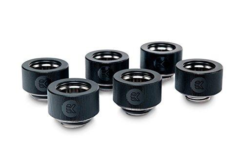 - EKWB EK-HDC Compression Fitting for EK Rigid Tubing, 16mm OD, Black, 6-Pack