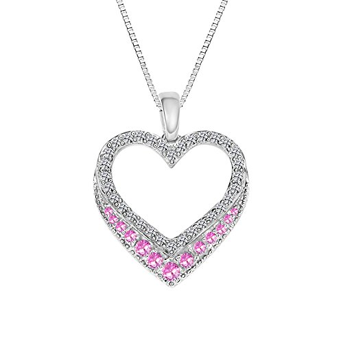 (Sterling Silver 925 Heart Shaped Lab-Created Pink Sapphire and Lab-Created White Sapphire Pendant Necklace, 18