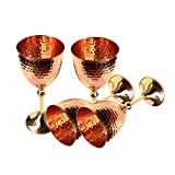 Set of 4 100% Authentic Hammered Copper Wine Goblet Perfect for Copper Moscow Mule Mug/Cup Capacity-12 Ounce
