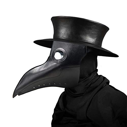 Womdee Plague Doctor Mask, Faux Leather Beak Punk Halloween Costume Props with Long Nose (Black)