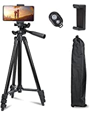"""AccLooPhone Tripod, 50"""" Extendable Travel Video Tripod Stand for Phone and Camera with Bluetooth Remote Shutter and Phone Clip, Compatible with iPhone & Android Phone"""