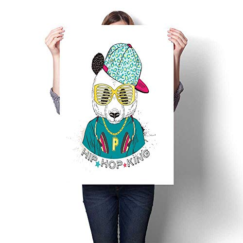 Modern Art Picture Colorful Canvas Print Panda boy Dressed up in Cool City Style Drawn Graphic Hipster Animal Portrait Canvas,12