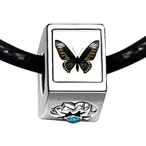 Chicforest Silver Plated Beautiful Lovely Butterfly Photo Blue Zircon Crystal December Birthstone Flower Charm Beads Fits Pandora Charms