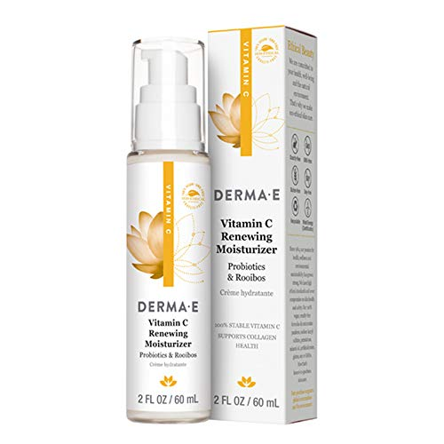 DERMA E Vitamin C Renewing Face Moisturizer, Anti-Aging, Fine Lines, and Wrinkles, Rosehip, Probiotics, Roobios, Day Moisturizer, 2 oz