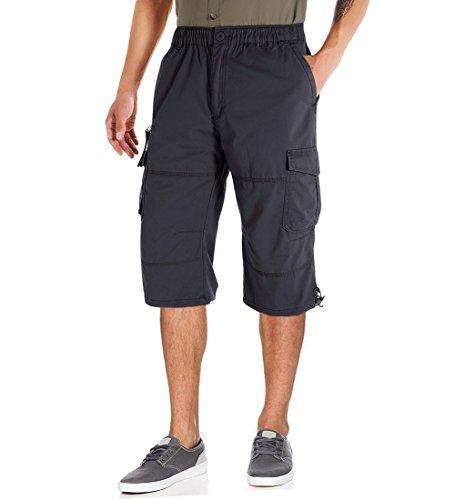 CRYSULLY Men's Casual 100% Cotton Multi Pockets Elastic Waistband Shorts Loose Fit Knee-Length Cargo Shorts Gray (Capri Shorts Drawstring)