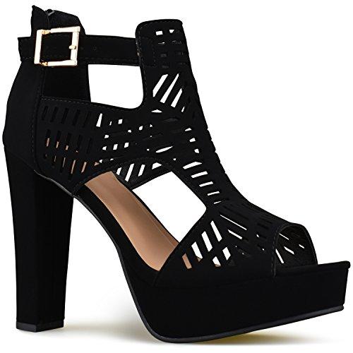 Premier Standard - Women's Laser Cut Out Ankle Strap High Heel - Open Toe Sandal Pump - Chunky Wooden Heel Platform Shoe, TPS Heels-87Samoht v2 Black Size 7