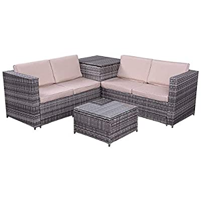 "Tangkula 4PCS Patio Sofa Set Wicker Rattan Outdoor Garden Lawn Cushioned Seat with Storage Conversation Set (Mix Grey) - 【Sturdy & Durable】Tangkula outdoor wicker set with storage box is made of steel frame and PE wicker. Steel frame provides large weight capacity and stable construction, PE wicker is weather-proof and stay longer than normal wicker. Coffee table comes with tempered glass top, which is safer and easy to clean. 【Compact & Practical】The outdoor wicker set includes 2 loveseat sofa, 1 coffee table and 1 storage box. Compact and simple design. You can storage the cushions in there when the set is idle, and also can storage the toys or daily supplier in the box in summer days. Storage box comes with a waterproof inner cover. It's no need to worry about the items in the box even in rainy days. 【Installation & Size】With our manual it's easy to assemble. All hardware and tool are included in the box. Size of loveseat: 47.5""x26""x26""(LXWXH), Size of storage box: 26""x26""x26""(LXWXH), Size of coffee table: 22""x22""x13""(LXWXH) - patio-furniture, patio, conversation-sets - 41X7NFI0BIL. SS400  -"