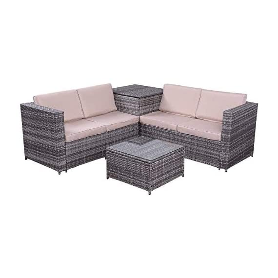 """Tangkula 4PCS Patio Sofa Set Wicker Rattan Outdoor Garden Lawn Cushioned Seat with Storage Conversation Set (Mix Grey) - 【Sturdy & Durable】Tangkula outdoor wicker set with storage box is made of steel frame and PE wicker. Steel frame provides large weight capacity and stable construction, PE wicker is weather-proof and stay longer than normal wicker. Coffee table comes with tempered glass top, which is safer and easy to clean. 【Compact & Practical】The outdoor wicker set includes 2 loveseat sofa, 1 coffee table and 1 storage box. Compact and simple design. You can storage the cushions in there when the set is idle, and also can storage the toys or daily supplier in the box in summer days. Storage box comes with a waterproof inner cover. It's no need to worry about the items in the box even in rainy days. 【Installation & Size】With our manual it's easy to assemble. All hardware and tool are included in the box. Size of loveseat: 47.5""""x26""""x26""""(LXWXH), Size of storage box: 26""""x26""""x26""""(LXWXH), Size of coffee table: 22""""x22""""x13""""(LXWXH) - patio-furniture, patio, conversation-sets - 41X7NFI0BIL. SS570  -"""