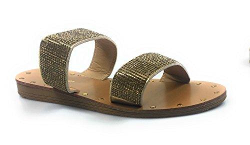 FOREVER Womens Open Toe Rhinestone Embellished Slide Flat Sandal Shoe Flip Flops Slipper Champagne Hennie-29 2ekglimUSI