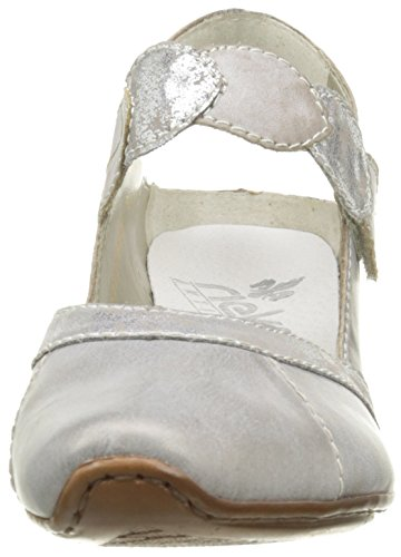Rieker 43710-90, Pestaña Trasera para Mujer Plateado (Altsilber/silber/steel)