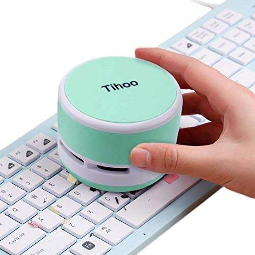 Keyboard Vacuum Cleaner Mini Office Supplies Desktop Table Dust Sweeper for Bread Crumbs Collector for Eraser Shaving Cordless Table Cleaner for Kitchen, Mint Green (Best Vacuum Cleaner For Dusty Environment)