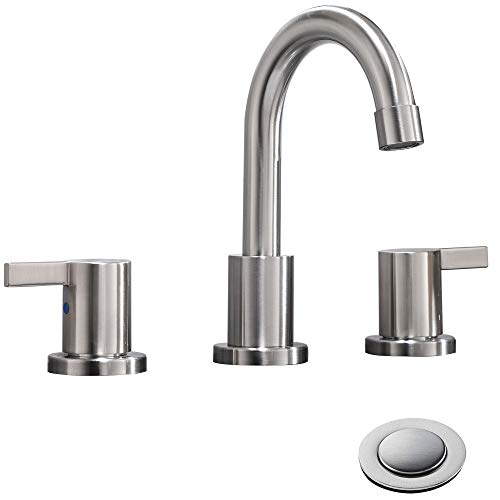 Phiestina 2 Handle 3 Hole 8 inch Widespread Bathroom Faucet with Metal Pop-Up Drain, Brushed Nickel, WF015-1-BN