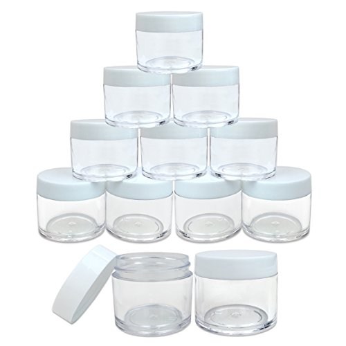 (Quantity: 12 Pieces) Beauticom 30G/30ML (1 Oz) Round Clear Jars with White Lids for Lotion, Creams, Toners, Lip Balms, Makeup Samples - BPA Free -