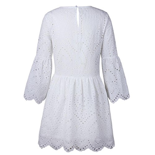 iTLOTL Womens Flowers Lace Short Sleeve Round neck Party Dress Vintage Lace Dress(US:8/CN:M, White) by iTLOTL (Image #3)