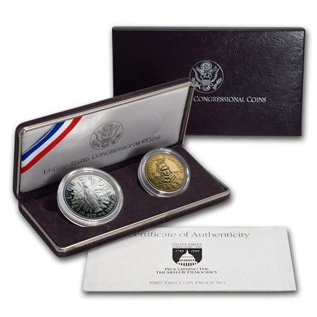 1989 S Congressional Coins Comemmorative Dollar and Half Dollar Proof Silver Coins