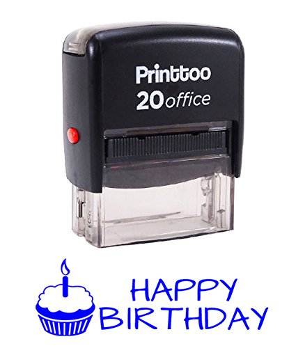 Printtoo HAPPY BIRTHDAY Self Inking Rubber Stamp Office Stationary Custom Stamp-Blue -