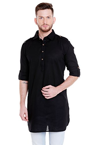 In-Sattva Men's Pullover Pathani Rollup Sleeve Kurta Tunic with Shoulder Strap; Black; MD
