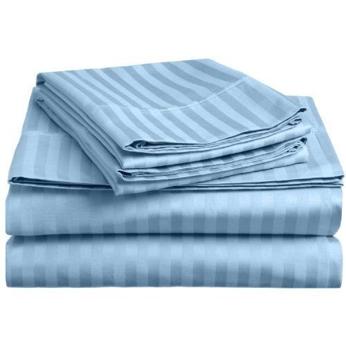 Nile Bedding Collection Luxury Hotel Bed Sheets Set Egyptian Cotton 600 Thread Count Sateen 4 PCs Sheets -Fitted Sheet Fit up to 10 Inches Deep Pocket Light Blue Striped King Size