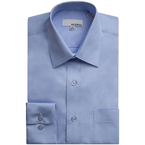 (Modena Men's Long Sleeve Dress Shirt - Colors - All Sizes (Including Big & Tall) (16.5 34/35, Powder)